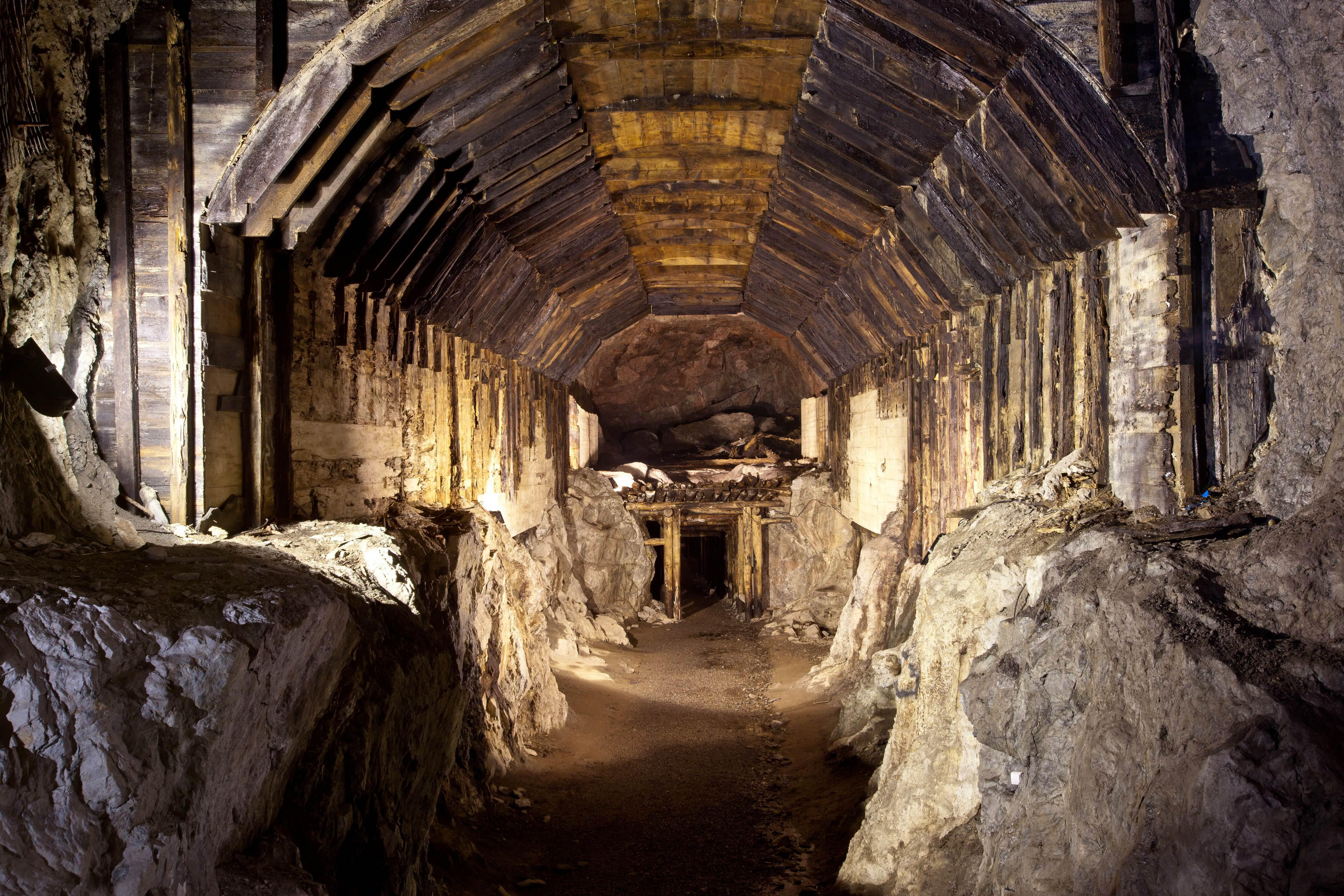 FILE - This file photo from March.2012, shows a part of a subterranean system built by Nazi Germany in what is today Gluszyca-Osowka, Poland. According to Polish lore, a Nazi train loaded with gold, and weapons vanished into a mountain at the end of World War II, as the Germans fled the Soviet advance. Now two men claim they know the location of the mystery train and are demanding 10 percent of its value in exchange for revealing its location. (AP Photo,str)